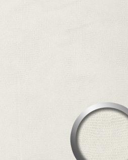 Wandpaneel Leder WallFace 15610 LEGUAN Blickfang Luxus 3D Dekor selbstklebende Tapete Wandverkleidung weiß   2, 60 qm