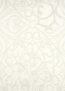 Barock Tapete ATLAS CLA-597-3 Vliestapete geprägt mit grafischem Muster glänzend weiß beige-grau weiß 5, 33 m2