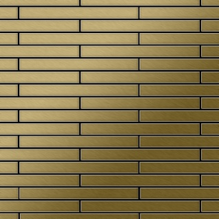 Mosaik Fliese massiv Metall Titan gebürstet in gold 1, 6mm stark ALLOY Avenue-Ti-GB 0, 74 m2