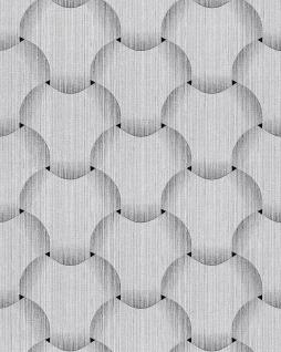Retro Tapete EDEM 1035-10 Vinyltapete strukturiert mit grafischem Muster glitzernd silber grau weiß 5, 33 m2