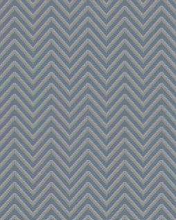 Streifen Tapete Profhome BA220094-DI heißgeprägte Vliestapete geprägt mit Chevron Muster und metallischen Akzenten blau tauben-blau silber 5, 33 m2