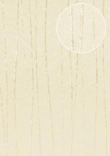Streifen Tapete Atlas COL-570-5 Vliestapete glatt Design schimmernd grau achat-grau creme-weiß 5, 33 m2