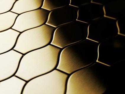 Mosaik Fliese massiv Metall Titan gebürstet in gold 1, 6mm stark ALLOY Karma-Ti-GB Designed by Karim Rashid 0, 86 m2 - Vorschau 4