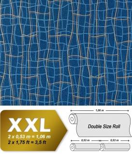 Grafik Tapete Vliestapete EDEM 972-37 XXL Objekttapete 3D Netzstruktur geschwungene Linien Blau kobalt goldgelb 10, 65 qm