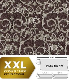 Barock Tapete EDEM 9016-36 Vliestapete geprägt mit floralen Ornamenten und metallischen Akzenten braun perl-beige 10, 65 m2