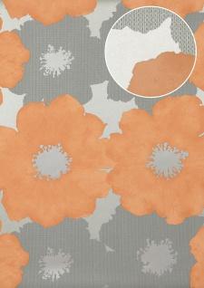 Blumen Tapete Atlas TEM-8015-4 Vliestapete geprägt im Retro-Stil und Metallic Effekt silber lachs-orange pastell-orange weiß-aluminium 7, 035 m2