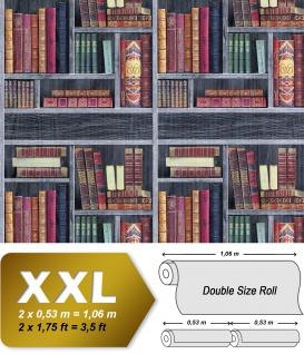Bücher Tapete EDEM 81155BR29 heißgeprägte Vliestapete Bibliothek Bücherregal matt grau wein-rot beige-braun grün 10, 65 m2