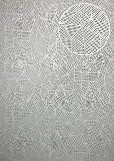 Grafik Tapete ATLAS XPL-590-7 Vliestapete strukturiert mit geometrischen Formen schimmernd platin anthrazit-grau grau-oliv grau 5, 33 m2