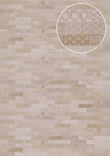 Ethno Tapete Atlas ICO-5075-1 Vliestapete glatt mit Kachelmuster schimmernd creme grau-weiß grau-beige 7, 035 m2
