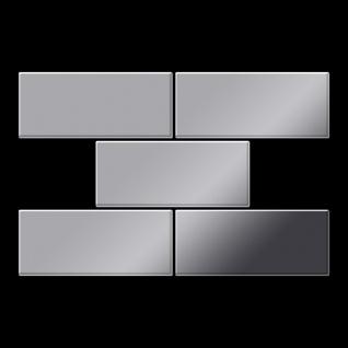 Mosaik Fliese massiv Metall Edelstahl hochglänzend in grau 1, 6mm stark ALLOY Subway-S-S-M 0, 58 m2 - Vorschau 3