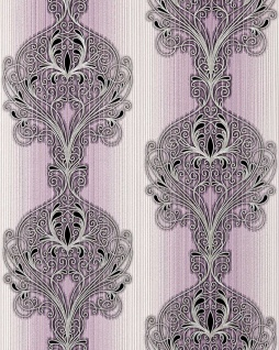 3D Barock Tapete EDEM 096-24 Tapete Damask prunkvolle Ornament-Designs violett flieder weiß silber schwarz | 5, 33 qm