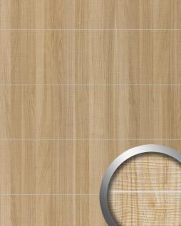 Wandverkleidung Holz Optik WallFace 19101 MAPLE ALPINE 8L Ahorn Dekor Metall Lisenen gebürstet Wandpaneel selbstklebend hellbraun 2, 60 qm