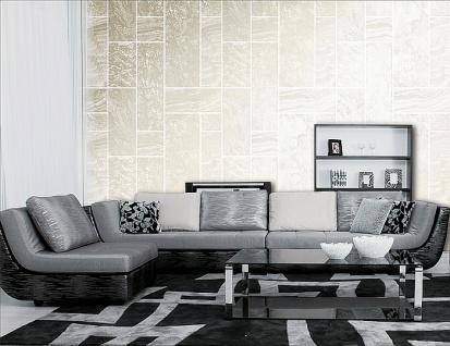 Stein-Kacheln Tapete Atlas 24C-5061-3 Luxus Vliestapete strukturiert in Steinoptik und metallischen Akzenten beige elfenbein weiß silber 7, 035 m2 - Vorschau 3