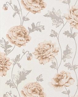 Blumen Tapete Landhaustapete EDEM 086-23 Romantik Tapete Floral Vinyltapete Rosen Blüten Crashoptik beige hellbraun