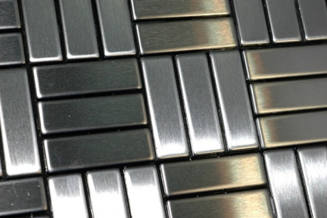 Mosaik Fliese massiv Metall Edelstahl gebürstet in grau 1, 6mm stark ALLOY Basketweave-S-S-B 0, 82 m2 - Vorschau 4