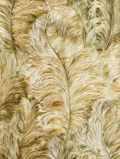 Exklusive Tapete Profhome 822206 Vinyltapete geprägt mit Federn glänzend gold hell-elfenbein farn-grün 5, 33 m2