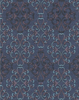 Barock Tapete EDEM 85037BR32 Tapete strukturiert mit Ornamenten glänzend blau türkis-blau lila schwarz 5, 33 m2