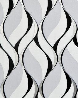 Retro Tapete EDEM 1054-10 Vinyltapete leicht strukturiert mit grafischem Muster und metallischen Akzenten grau schwarz silber platin 5, 33 m2