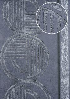 Grafik Tapete ATLAS HER-5139-6 Vliestapete geprägt mit geometrischen Formen schimmernd grün grün-grau oliv-grün silber 7, 035 m2