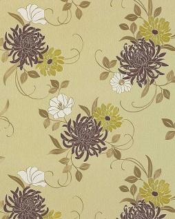 Blumen Tapete EDEM 824-28 hochwertige geprägte floral Blumentapete elfenbein schoko-braun grün bronze weiß 70 cm