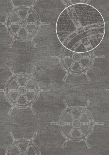Grafik Tapete Atlas SIG-585-2 Vliestapete glatt im maritimen Design schimmernd grau staub-grau blau-grau silber-grau 5, 33 m2