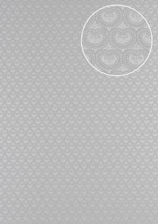 Barock Tapete Atlas PRI-5048-2 Vliestapete glatt mit Ornamenten schimmernd silber weiß-aluminium licht-grau seiden-grau 5, 33 m2