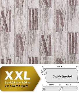 Holz Tapete Vliestapete EDEM 945-24 Geprägte Tapete Holzoptik Dielen Römische Zahlen Deko Eiche weiß hell-grau 10, 65 qm