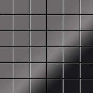 Mosaik Fliese massiv Metall Titan hochglänzend in dunkelgrau 1, 6mm stark ALLOY Cinquanta-Ti-SM 0, 94 m2