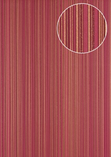 Streifen Tapete Atlas PRI-5047-4 Vliestapete glatt Design glitzernd rot gold bordeaux-violett wein-rot 5, 33 m2