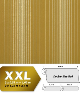 Streifen Tapete Vliestapete EDEM 973-38 XXL Tapete gestreifte Objekttapete gold bronze olive-grün senf-gelb 10, 65 qm