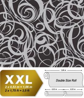 Grafik Tapete EDEM 81136BR29 heißgeprägte Vliestapete mit abstraktem Muster und metallischen Akzenten anthrazit schwarz silber 10, 65 m2