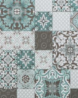 Küchen Bad Tapete EDEM 87001BR15 Vinyltapete leicht strukturiert mit Kachelmuster und metallischen Akzenten türkis grau-beige weiß silber 5, 33 m2