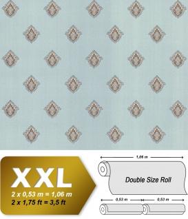 Barock Tapete EDEM 9043-29 Vliestapete geprägt mit Ornamenten glänzend türkis creme-weiß silber braun 10, 65 m2