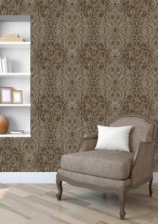 Barock Tapete ATLAS CLA-597-9 Vliestapete geprägt mit grafischem Muster glänzend braun perl-gold braun-grau 5, 33 m2 - Vorschau 4