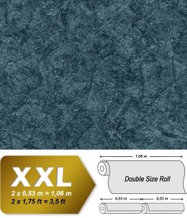 Spachtel Putz Tapete EDEM 9077-29 heißgeprägte Vliestapete geprägt im Shabby Chic Stil glänzend blau anthrazit petrol 10, 65 m2
