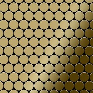 Mosaik Fliese massiv Metall Titan hochglänzend in gold 1, 6mm stark ALLOY Dollar-Ti-GM 0, 88 m2