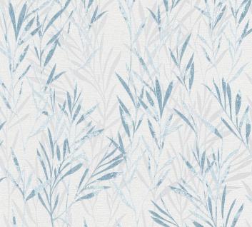 Blumen Tapete Profhome 367122-GU Vliestapete leicht strukturiert mit Natur-Mustern matt blau weiß 5, 33 m2