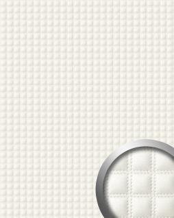 Wandpaneel Quadrat Leder 3D WallFace 15175 QUADRO Wandpaneel Quadrat Leder 3D Blickfang Dekor selbstklebende Tapete Verkleidung weiß 2, 60 qm