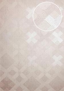 Grafik Tapete ATLAS XPL-588-5 Vliestapete strukturiert mit geometrischen Formen schimmernd grau grau-weiß creme-weiß perl-weiß 5, 33 m2