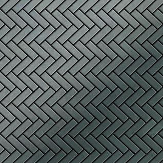 Mosaik Fliese massiv Metall Rohstahl gewalzt in grau 1, 6mm stark ALLOY Herringbone-RS 0, 94 m2