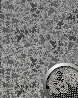 Wandpaneel Leder Französische Spitze WallFace 17844 LACE Design Wandverkleidung selbstklebend schwarz platin | 2, 60 qm