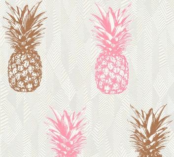 Natur Tapete Profhome 359973-GU Vliestapete leicht strukturiert mit Natur-Mustern matt rosa creme weiß 5, 33 m2