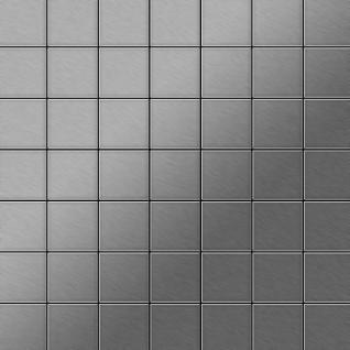 Mosaik Fliese massiv Metall Edelstahl gebürstet in grau 1, 6mm stark ALLOY Attica-S-S-B 0, 85 m2