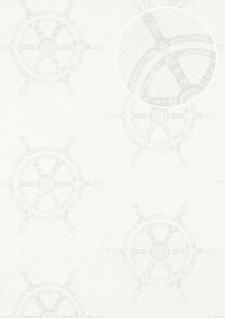 Grafik Tapete Atlas SIG-585-1 Vliestapete glatt im maritimen Design schimmernd creme perl-weiß rein-weiß silber-grau 5, 33 m2