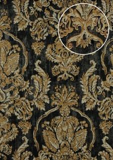 Barock Tapete ATLAS CLA-602-9 Vliestapete geprägt mit floralen Ornamenten glänzend grau beige-grau gold-braun 5, 33 m2