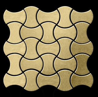 Mosaik Fliese massiv Metall Titan gebürstet in gold 1, 6mm stark ALLOY Infinit-Ti-GB Designed by Karim Rashid 0, 91 m2 - Vorschau 3