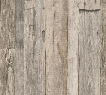 Holz Tapete Profhome 959312-GU Vliestapete glatt in Holzoptik matt grau weiß beige 5, 33 m2