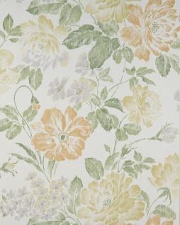 Blumen Tapete Profhome BV919081-DI heißgeprägte Vliestapete strukturiert im romantischen Design matt creme grün-beige sand-gelb farn-grün 5, 33 m2