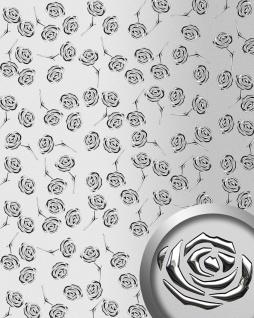 Dekorpaneel Rosen Dekor WallFace 13919 3D ROSE Blumen Design Paneel selbstklebend silber metallic 2, 60 qm
