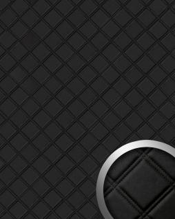 Wandpaneel Karo Leder Luxus 3D WallFace 15030 ROMBO Blickfang Dekor selbstklebende Tapete Verkleidung schwarz | 2, 60 qm